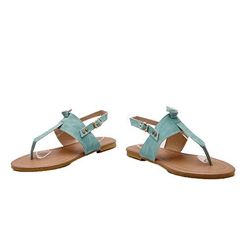 AalarDom Mujer Puntera Dividida Mini Tacón Material Suave Hebilla Sandalias de vestir Azul