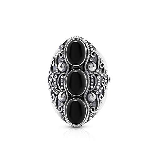 - Koral Jewelry Black Onyx 3 Stones Ethnic Vintge Look Multi Stone Ring 925 Sterling Silver Vintage Tribal Gipsy Boho Chic (7)