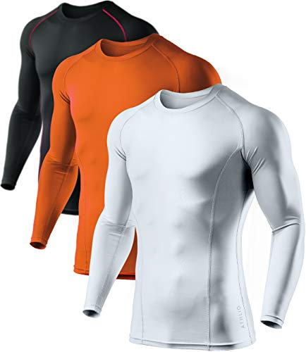 ATHLIO Men's (Pack of 3) Cool Dry Compression Long Sleeve Baselayer Athletic Sports T-Shirts Tops, 3pack(bls01) - Black/White/Orange, Large ()