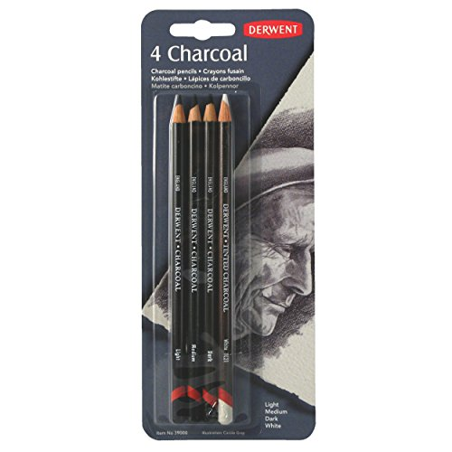 Derwent Charcoal Pencils, Pack, 4 Count (39000)