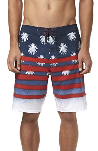 O'Neill Men's Water Resistant Hyperfreak Stretch Swim Boardshorts, 20 Inch Outseam (Red White Blue/Sarfin USA, 31) ()