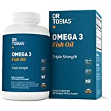 Dr Tobias Omega 3 Fish Oil Triple Strength, Burpless, Non-GMO, NSF-Certified, 180 Counts
