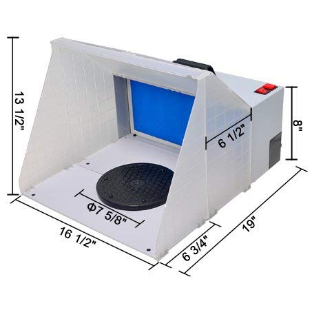 Airbrush Spray Booth Kit with Powerful Fan Fiberglass Filter Sponges Revolvable Turn Table Set of Hose