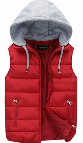 Full Color Puffer Red Stylish Hooded Pure Pockets Vest Zip UK Wine today Mens zxXqUIa