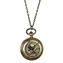 Mockingjay Antique Brass Steampunk Pocket Watch Pendant Necklace