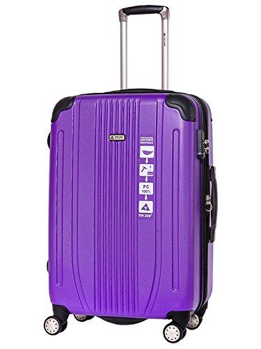 スーツケース キャリーバッグ 軽量 TSAロック Wキャスター搭載 エンボス加工 A-561 ファスナー開閉式 7色3サイズ B01ARJPCO2 M(中)型|パープル パープル M(中)型
