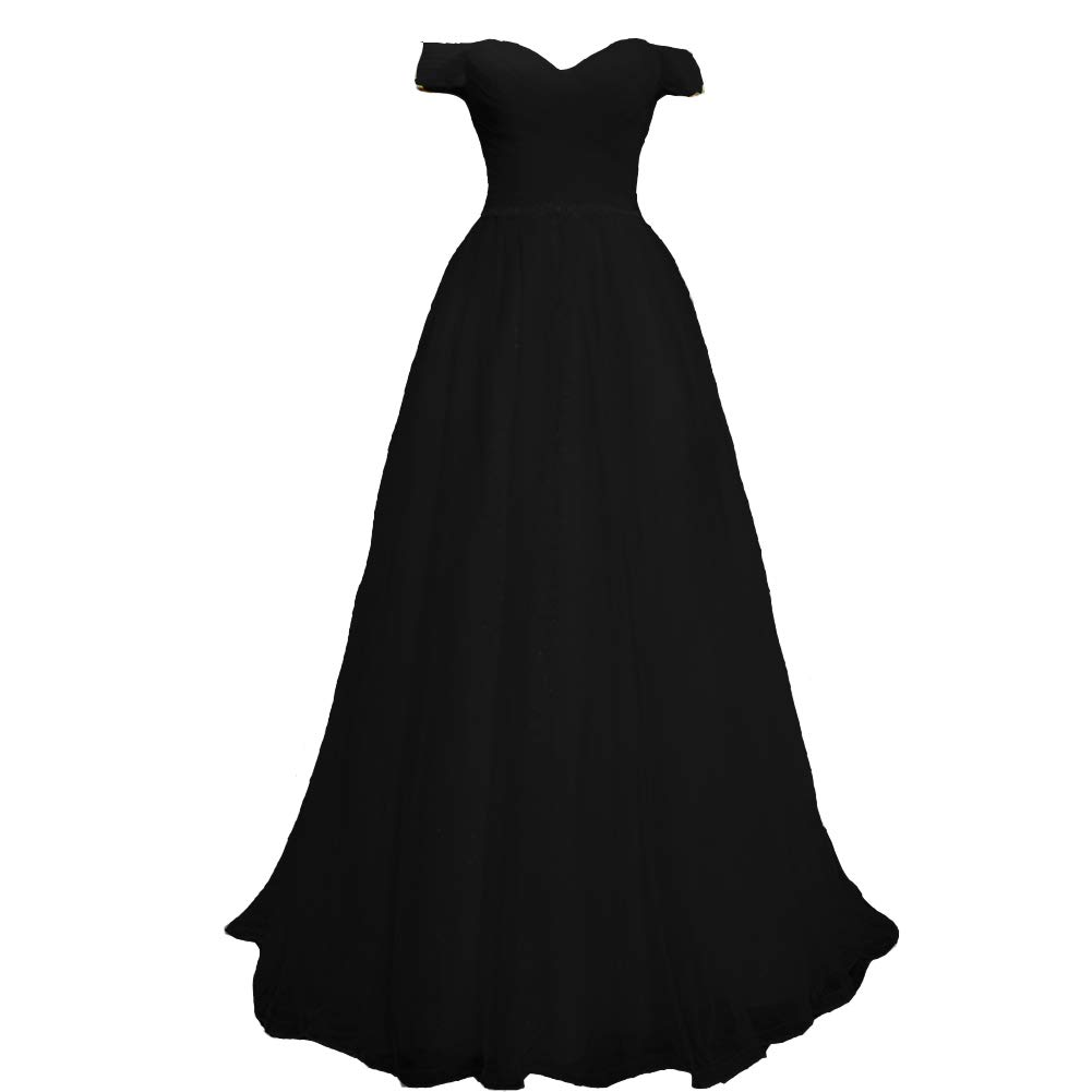 Black Kivary Off The Shoulder Criss Cross Pleats Beaded Tulle Long Evening Prom Dress
