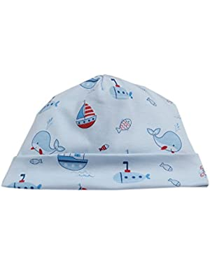 Baby Boys Ahoy There Print Hat - Blue