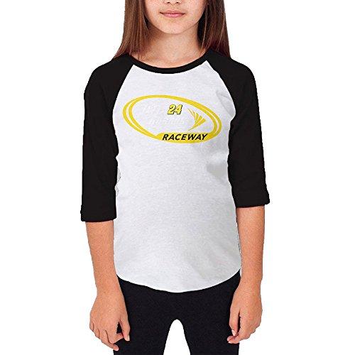 [MJJY Youth Girls Jeff Gordon-nascar Raglan Tee Baseball Shirt Black Size M] (Nascar Tony Stewart Costumes)