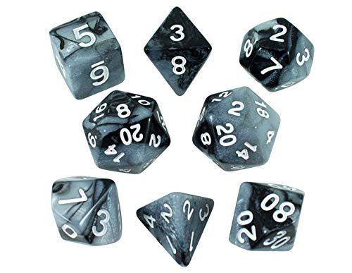 Paladin Roleplaying Gray and Black Dice - Expanded DND Set with Extra D20 - 'Claws of Darkness'