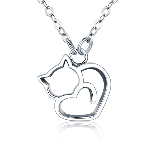 BAMOER 925 Sterling Silver Cat Necklace Cute Kitty Necklace for Women Cat Necklace 1