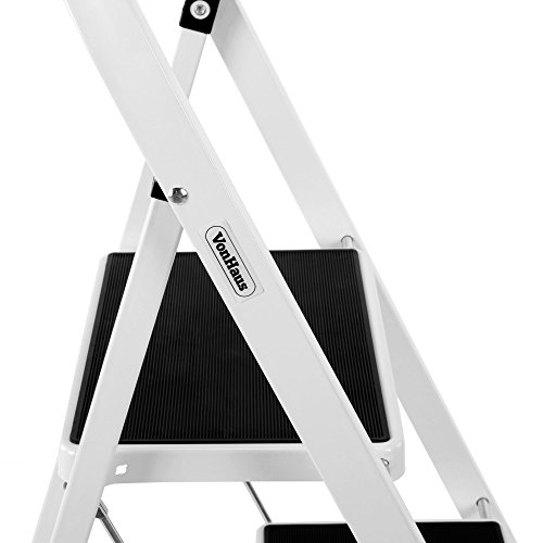 VonHaus Steel 2 Step Ladder Folding Portable Stool with 330lbs Capacity - Lightweight and Sturdy, White, 2 Step by VonHaus (Image #6)