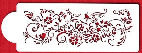 Designer Stencils C431 Nature's Vignette Cake Stencil, Beige/semi-transparent by Designer Stencils