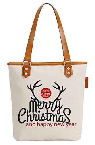 So'each Women's Merry Christmas Deer Canvas Tote Pearly Top Handle Shoulder Bag