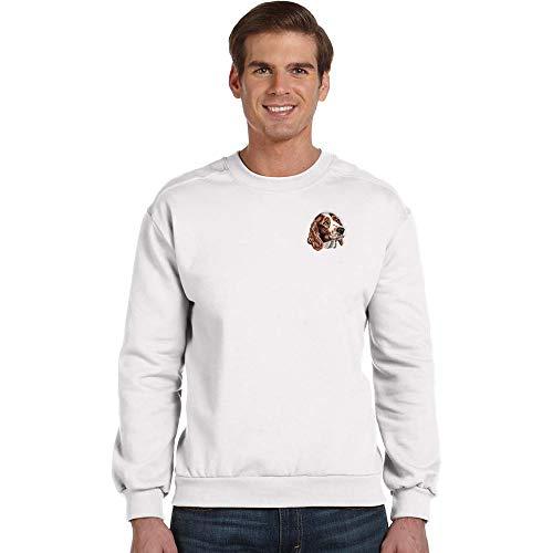 Cherrybrook Breed Embroidered Anvil Mens Crew Sweatshirt - Small - White - Welsh Springer Spaniel