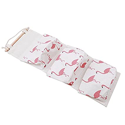 650ff0a0f5 895732   Flamingo Pattern Cotton Linen Hanging Storage Bag 3 Pockets Wall  Mounted Wardrobe Hang Bag Wall Pouch Cosmetic Toys Organizer  Amazon.in   Home   ...