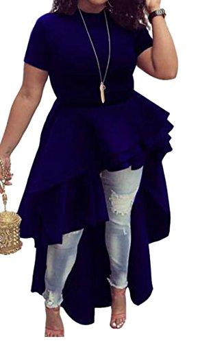 Womens Falbala Slim Low Blue Turtle Mock Pendulum Fit Tunic Neck High Dresses Big Cromoncent qd6pAx6