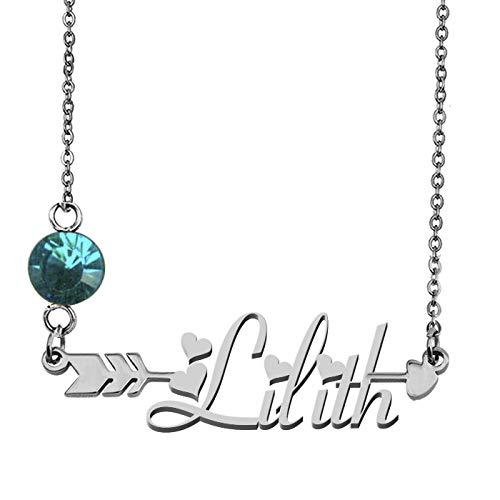 GR859C Custom My Name Necklace Lilith Silver Arrow Pendant ()