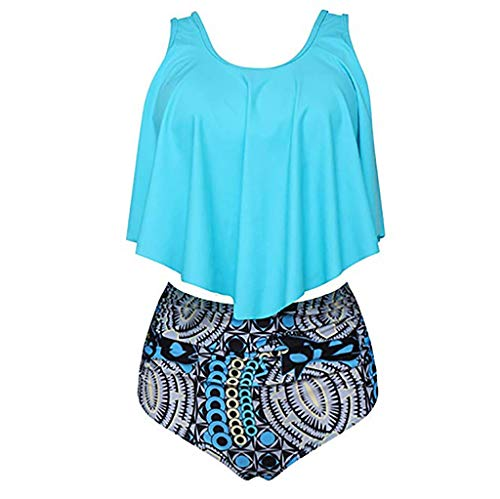 Hot!! Women Sexy Two Piece Swimsuit GoodLock Ladies Fashion Plus Size Backless Halter Dot Printed Swimwear (Sky Blue, Large) - Hot Dot Halter Bikini