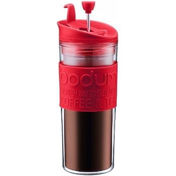 Bodum Travel Tea and Coffee Press, Plastic Insulated Travel Mug, Red, 15 Ounce