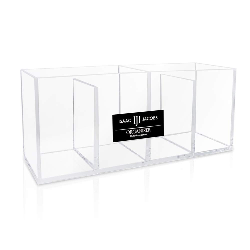 Isaac Jacobs 4-Compartment Clear Acrylic Organizer- Makeup Brush Holder- Storage Solution- Office, Bathroom, Kitchen Supplies and More (Clear)