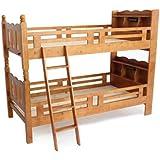 宮付き二段ベッド ライト付き 二段ベッド 2段ベッド シングルベッド すのこベッド 木製 ブラウン