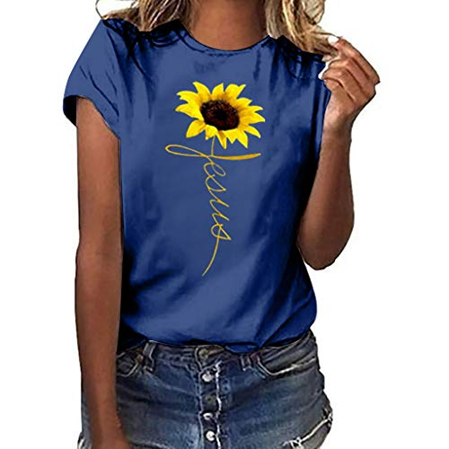 Womens T-Shirt,Plus Size Sunflower Printed Womens Casual Short Sleeve Tees Summer Loose Blouse Tops Classic Basic T Shirts Navy ()