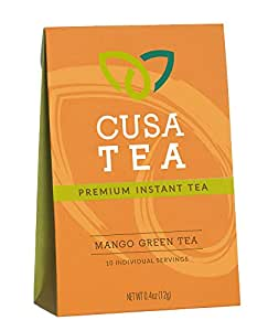 Mango Green Tea by Cusa Tea - Premium Organic Instant Tea - USDA Organic Certified Tea and Real Mango Fruit - 10-pack of Instant Tea - Zero Sugar, Preservatives or Flavorings