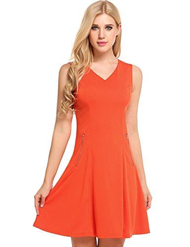 ACEVOG Womens A Line Dress V Neck Sleeveless Elegant Zipper Cocktail Party Dresses