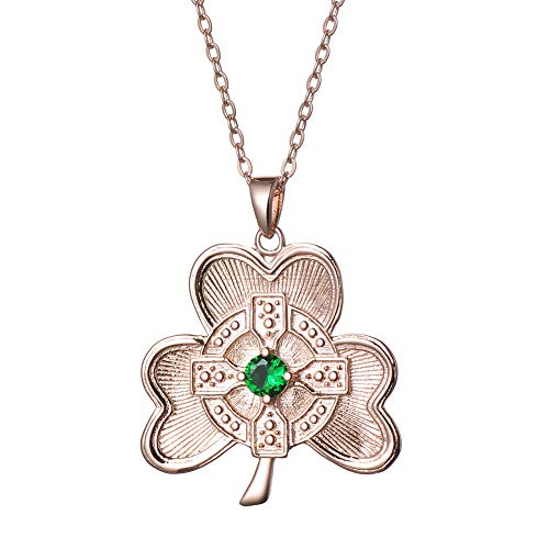 Javeny 925 Sterling Silver Emerald CZ Irish Cross Shamrock Leaf Clover Pendant Necklaces for Women (Emerald)