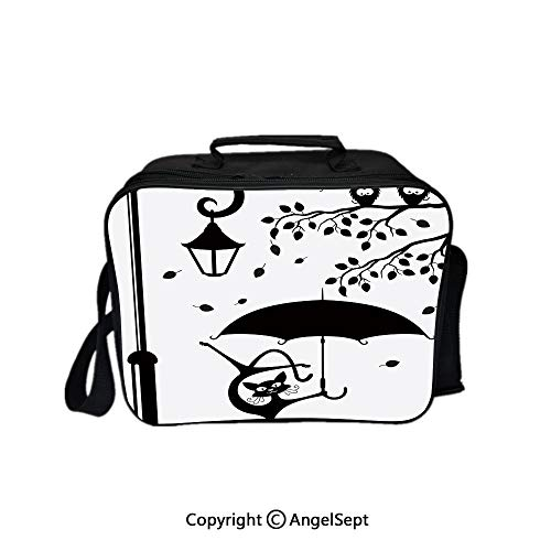 Hot Sale Lunch Container,Funny Kitty with Umbrella Dancing under Street Lantern in Town Urban Humor Print Black White 8.3inch,Lunch Bag Large Cooler Tote Bag For Men, Women