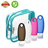 Travel bottles, Leakproof Silicone bottles, Refillable Travel bottle Set, TSA Approved Travel containers, Squeezable Travel Toiletry Bottle set, Travel bottles for Shampoo/Lotion/Cream for Women Men