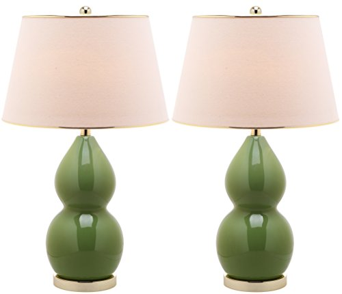 Table Gourd Ceramic Lamp (Safavieh Lighting Collection Jill Double Gourd Ceramic Table Lamp, Fern Green, Set of 2)