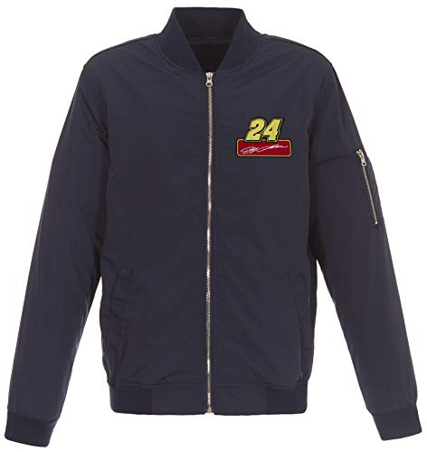 JH DESIGN GROUP Mens Nascar Jeff Gordon Lightweight Zip-Up Nylon Jacket with Knit Trim (Medium, Navy Blue)