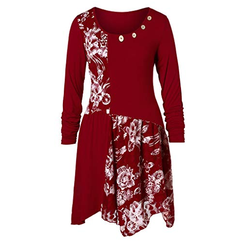 - Kiminana ❤️ Fashion Women Long Sleeve O-Neck Floral Lace Patchwork Buttons Long Top Blouses