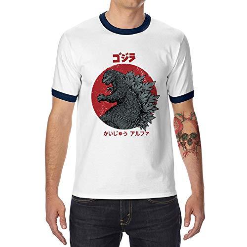 - Funny Kaiju Alpha T-Shirt Cotton Ringer T Shirt Adult T-Shirt Cotton Tee White/Navy