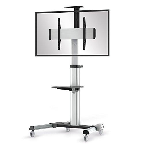 conecto LM-FS02G Professional TV-Ständer Standfuß für Fernseher Flachbildschirm LCD LED Plasma höhenverstellbar 37-70 Zoll (94-178 cm, bis 50 kg Tragkraft) max. VESA 600x400mm, Aluminium, silbergrau/schwarz