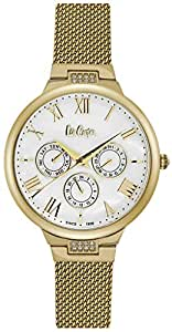 Lee Cooper Women's Multifunction Gold Case Gold Super Metal Strap White Dial -LC06521.120