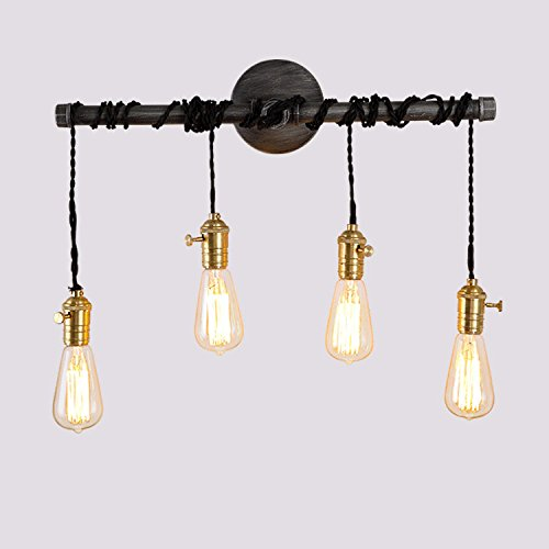 Jiuzhuo Industrial Edison 4 Hanging Bulb Light Vintage Wall Sconce Lighting by Jiuzhuo