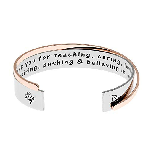Ms. Clover Teacher Gifts Thank You for Teaching Caring Loving Inspiring Pushing & Believing in Me Teachers Bracelets, Gift for Teacher Teaching Assistant Godmother Gift. -