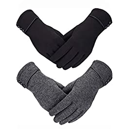 2 Pairs Women Winter Gloves Warmer Plush Glove Lined Windproof Gloves for Women and Girls, Black, Gray, 23 x 8.5 cm