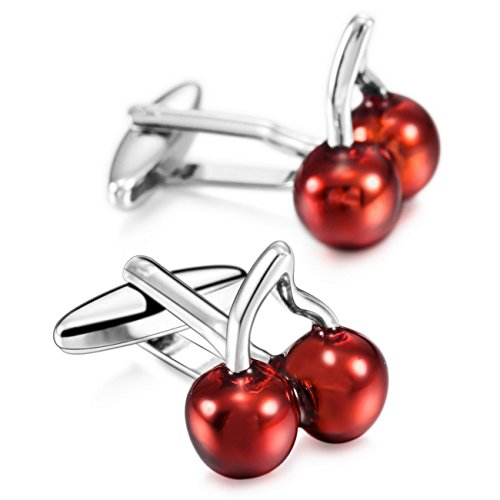 (MOWOM Red Silver Tone 2PCS Rhodium Plated Cufflinks Cherry Shirt Wedding Business)