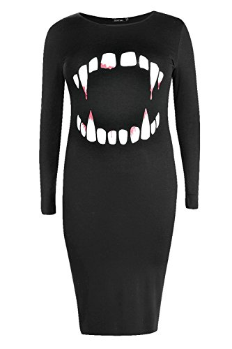Boohoo Womens Plus Size Molly Halloween Vampire Teeth Midi Dress