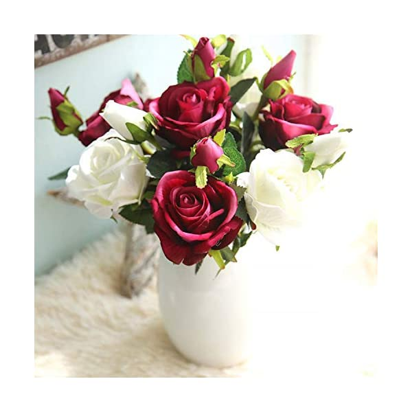 Bouquet Fake Decorative Floral Artificial Fake Roses Flannel Flower Bridal Bouquet Wedding Party Home Decor