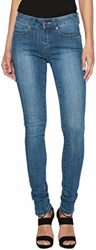 TheMogan Women's Distressed Ripped Destroyed Torned Dark Blue Wash Skinny Jeans