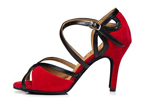 Tda Womens Mode Mocka Stilett Hög Klack Ankelbandet Latin Dansskor Röd