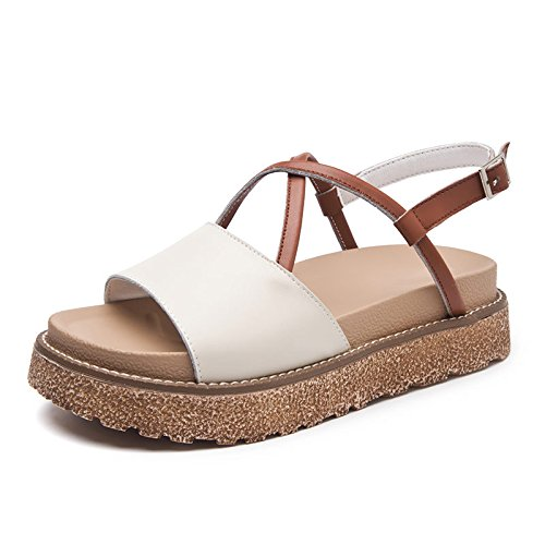 ZPPZZP Ms sandalias, planas y de estilo coreano, aldabas, cómodos, beige, 37