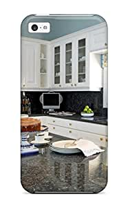 Premium Durable Oversized Kitchen Island With White Cabinetry And Blue Walls Fashion Tpu Iphone 5c Protective Case Cover
