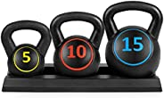3-Piece HDPE Kettlebell Exercise Fitness Weight Set w/ 5lb, 10lb, 15lb Weights, Base Rack - Black
