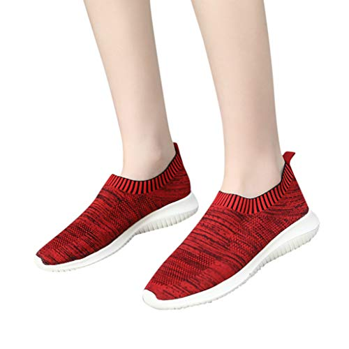 ASERTYL Women's Comfortable Mesh Walking Shoes Outdoor Casual Slip-On Lightweight Work Sneakers Red
